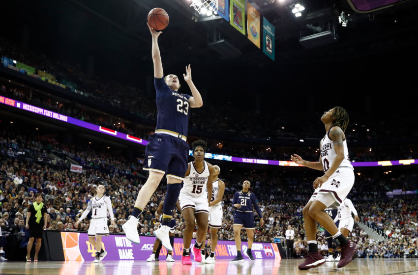 COLUMBUS, OH - APRIL 01: Jessica Shepard #23 of the Notre Dame Fighting Irish against the Mississippi State Lady Bulldogs during the fourth quarter in the championship game of the 2018 NCAA Women's Final Four at Nationwide Arena on April 1, 2018 in Columbus, Ohio. The Notre Dame Fighting Irish defeated the Mississippi State Lady Bulldogs 61-58. (Photo by Andy Lyons/Getty Images)