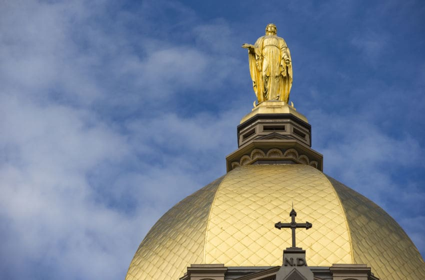 SOUTH BEND, IN - SEPTEMBER 29: The Golden Dome is seen on the Notre Dame campus before the Notre Dame Fighting Irish verses Stanford Cardinal game at Notre Dame Stadium on September 29, 2018 in South Bend, Indiana.at Notre Dame Stadium on September 29, 2018 in South Bend, Indiana. (Photo by Michael Hickey/Getty Images)