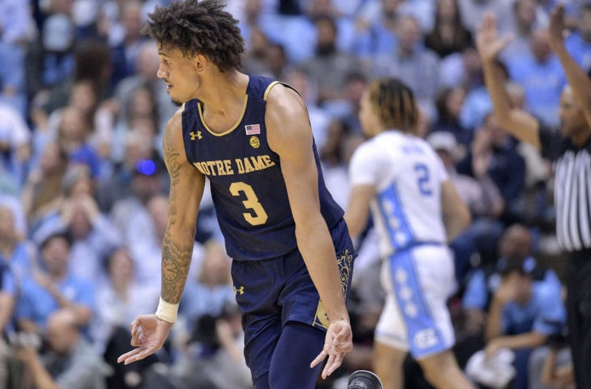 CHAPEL HILL, NORTH CAROLINA - NOVEMBER 06: Prentiss Hubb #3 of the Notre Dame Fighting Irish reacts after making a 3-point basket against the North Carolina Tar Heels during the second half at the Dean Smith Center on November 06, 2019 in Chapel Hill, North Carolina. North Carolina won 76-65. (Photo by Grant Halverson/Getty Images)