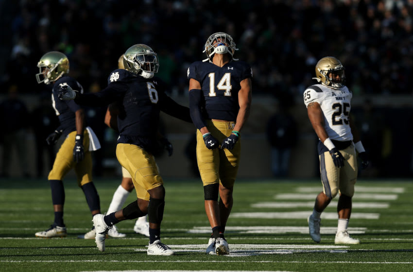 Kyle Hamilton #14 of the Notre Dame Fighting Irish reacts in the second quarter against the Navy Midshipmen at Notre Dame Stadium on November 16, 2019 in South Bend, Indiana. (Photo by Dylan Buell/Getty Images)