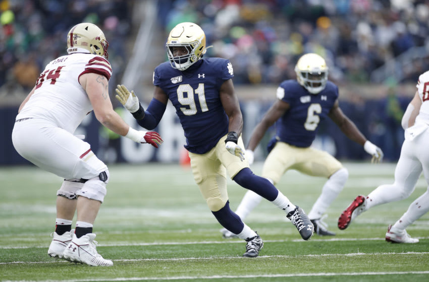 SOUTH BEND, IN - NOVEMBER 23: Adetokunbo Ogundeji #91 of the Notre Dame Fighting Irish in action on defense during a game against the Boston College Eagles at Notre Dame Stadium on November 23, 2019 in South Bend, Indiana. Notre Dame defeated Boston College 40-7. (Photo by Joe Robbins/Getty Images)
