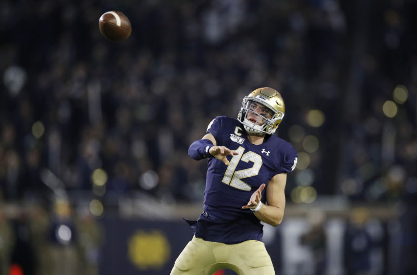 Ian Book #12 of the Notre Dame Fighting Irish (Photo by Joe Robbins/Getty Images)