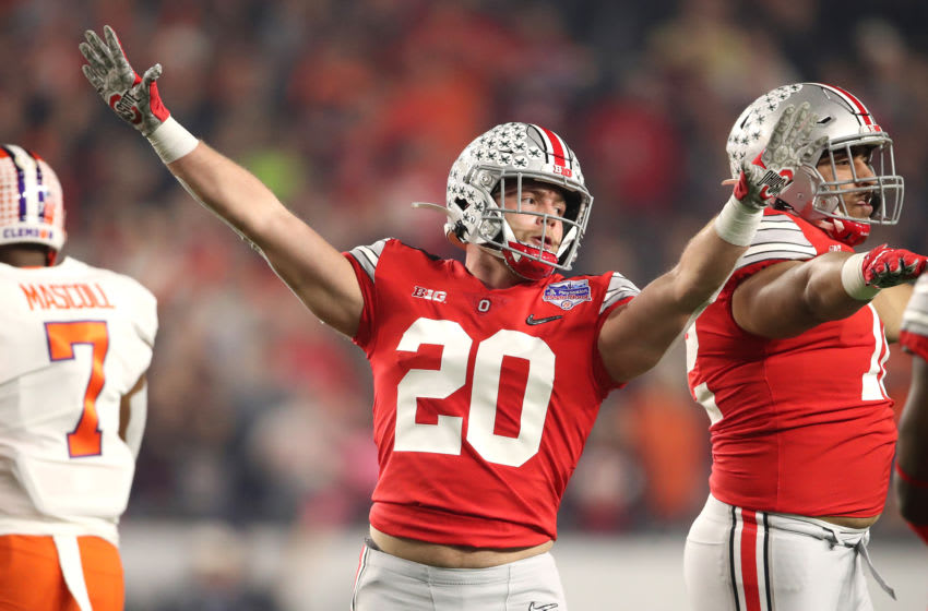 GLENDALE, ARIZONA - DECEMBER 28: Pete Werner #20 of the Ohio State Buckeyes reacts against the Clemson Tigers in the first half during the College Football Playoff Semifinal at the PlayStation Fiesta Bowl at State Farm Stadium on December 28, 2019 in Glendale, Arizona. (Photo by Christian Petersen/Getty Images)