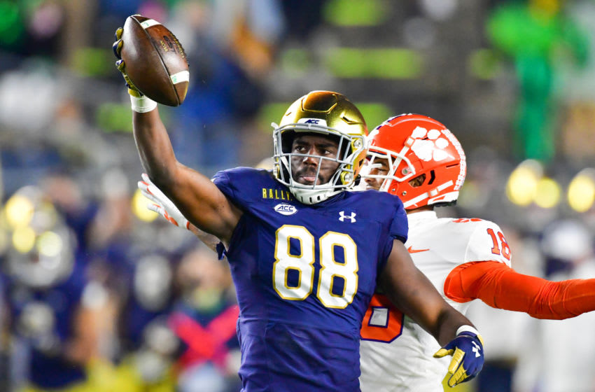 SOUTH BEND, INDIANA - NOVEMBER 07: Wide receiver Javon McKinley #88 of the Notre Dame Fighting Irish reacts after a catch in the third quarter agains the Clemson Tigers at Notre Dame Stadium on November 7, 2020 in South Bend, Indiana. (Photo by Matt Cashore-Pool/Getty Images)