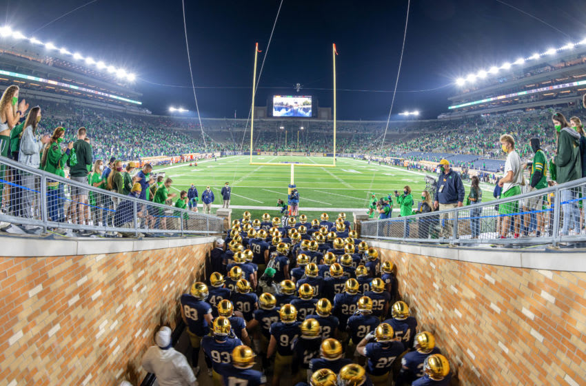 SOUTH BEND, INDIANA - NOVEMBER 07: The Notre Dame Fighting Irish gather in the tunnel before the game against the Clemson Tigers at Notre Dame Stadium on November 7, 2020 in South Bend, Indiana. (Photo by Matt Cashore-Pool/Getty Images)