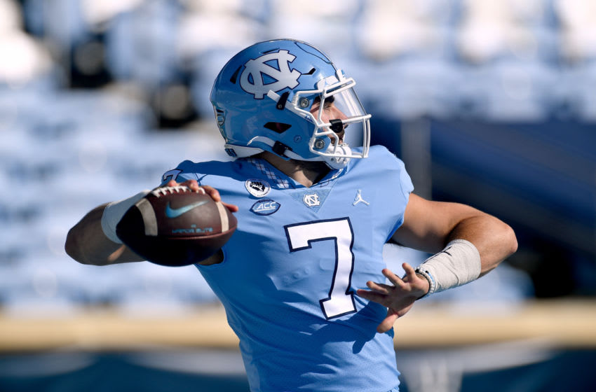 CHAPEL HILL, NORTH CAROLINA - OCTOBER 24: Sam Howell #7 of the North Carolina Tar Heels drops back to pass during their game against the North Carolina State Wolfpack at Kenan Stadium on October 24, 2020 in Chapel Hill, North Carolina. (Photo by Grant Halverson/Getty Images)
