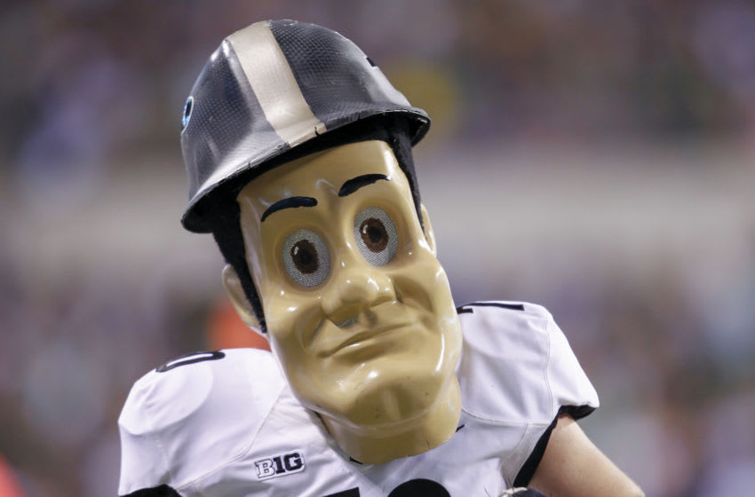 INDIANAPOLIS, IN - SEPTEMBER 13: Purdue Boilermakers mascot Purdue Pete is seen during the game against the Notre Dame Fighting Irish at Lucas Oil Stadium on September 13, 2014 in Indianapolis, Indiana. (Photo by Michael Hickey/Getty Images)