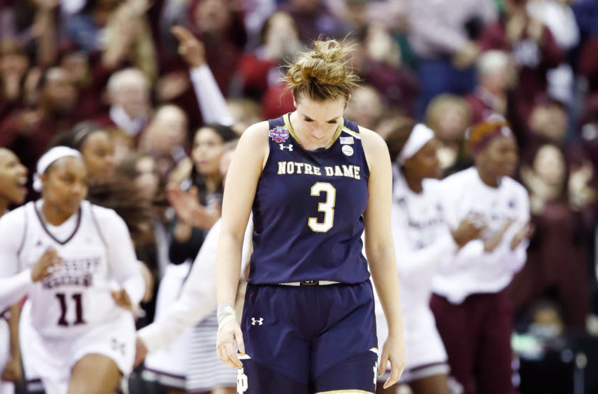 COLUMBUS, OH - APRIL 01: Marina Mabrey #3 of the Notre Dame Fighting Irish reacts as her team trails during the second quarter to the Mississippi State Lady Bulldogs in the championship game of the 2018 NCAA Women's Final Four at Nationwide Arena on April 1, 2018 in Columbus, Ohio. (Photo by Andy Lyons/Getty Images)
