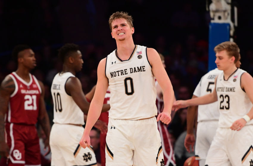 NEW YORK, NEW YORK - DECEMBER 04: Rex Pflueger #0 of the Notre Dame Fighting Irish reacts after fouling during the second half of the game against Oklahoma Sooners at Madison Square Garden on December 04, 2018 in New York City. (Photo by Sarah Stier/Getty Images)
