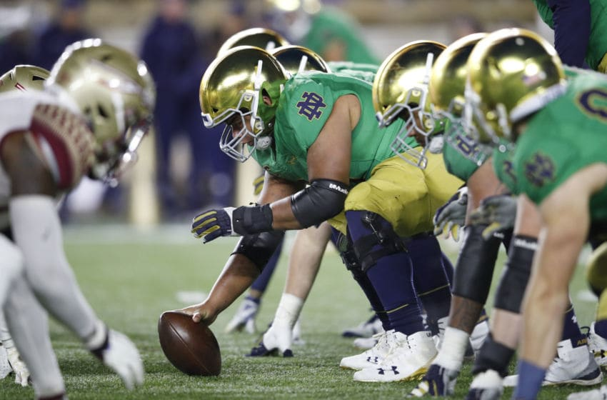 SOUTH BEND, IN - NOVEMBER 10: Notre Dame Fighting Irish face off at the line of scrimmage against the Florida State Seminoles during the game at Notre Dame Stadium on November 10, 2018 in South Bend, Indiana. Notre Dame won 42-13. (Photo by Joe Robbins/Getty Images)