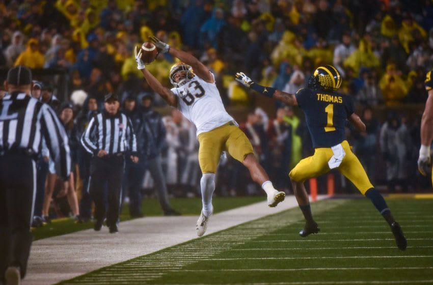 ANN ARBOR, MICHIGAN - OCTOBER 26: Receiver Chase Claypool #83 of the Notre Dame Fighting Irish catches a pass during a college football game against the Michigan Wolverines at Michigan Stadium on October 26, 2019 in Ann Arbor, Michigan. (Photo by Aaron J. Thornton/Getty Images)