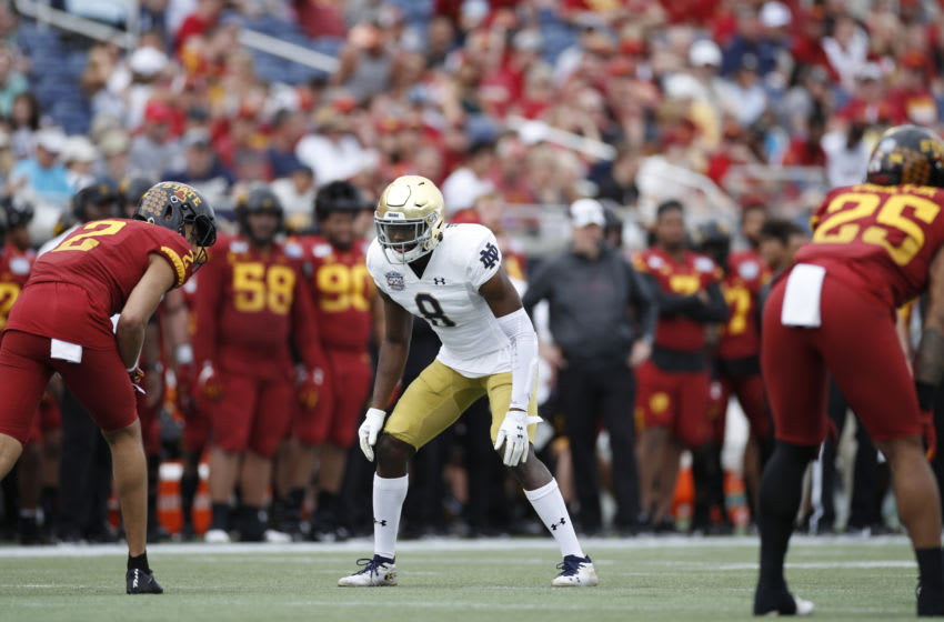 ORLANDO, FL - DECEMBER 28: Donte Vaughn #8 of the Notre Dame Fighting Irish in action on defense during the Camping World Bowl against the Iowa State Cyclones at Camping World Stadium on December 28, 2019 in Orlando, Florida. Notre Dame defeated Iowa State 33-9. (Photo by Joe Robbins/Getty Images)