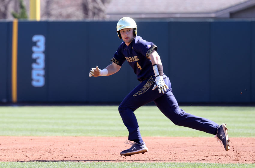 CHAPEL HILL, NC - MARCH 08: Carter Putz #4 of the University of Notre Dame takes a lead off of second base during a game between Notre Dame and North Carolina at Boshamer Stadium on March 08, 2020 in Chapel Hill, North Carolina. (Photo by Andy Mead/ISI Photos/Getty Images)