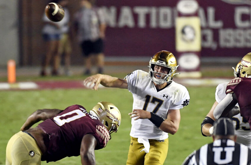 Sep 5, 2021; Tallahassee, Florida, USA; Notre Dame Fighting Irish quarterback Jack Coan (17) throws the ball during the second quarter against the Florida State Seminoles at Doak S. Campbell Stadium. Mandatory Credit: Melina Myers-USA TODAY Sports
