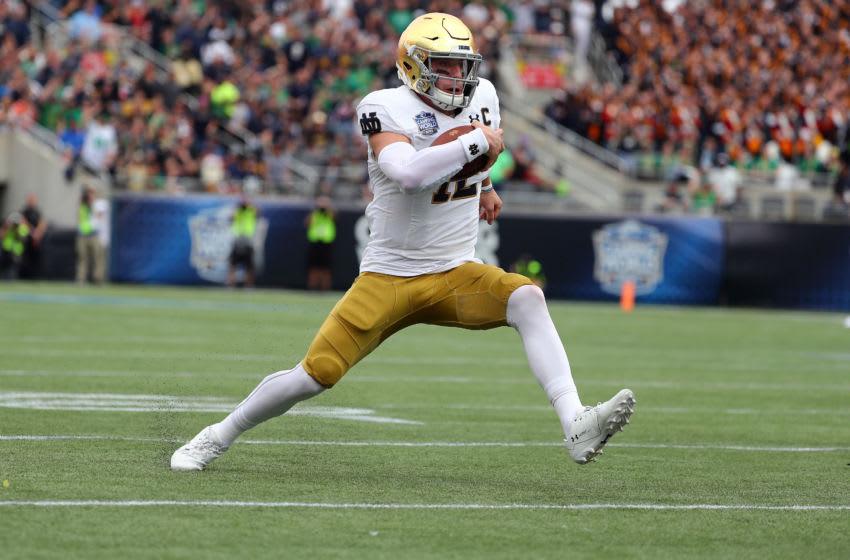 Notre Dame football quarterback Ian Book (12) - (Mandatory Credit: Kim Klement-USA TODAY Sports)