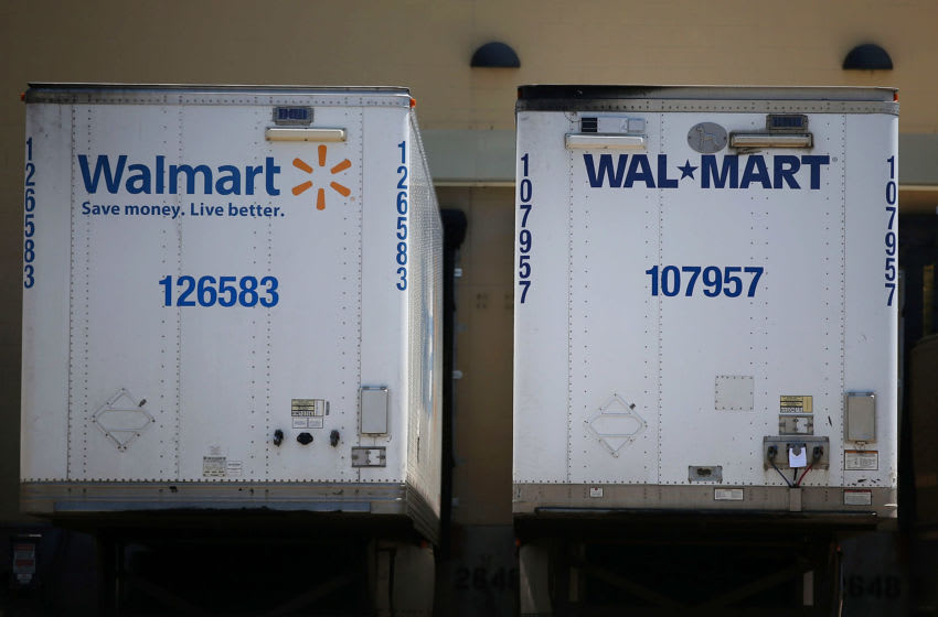 SAN LEANDRO, CA - JUNE 11: Wal-Mart truck trailers sits parked in the loading dock of a Wal-Mart store on June 11, 2015 in San Leandro, California. A federal judge has ruled that Wal-Mart failed to pay the California minimum wage to truck drivers and could have to pay $100 million in back pay. (Photo by Justin Sullivan/Getty Images)