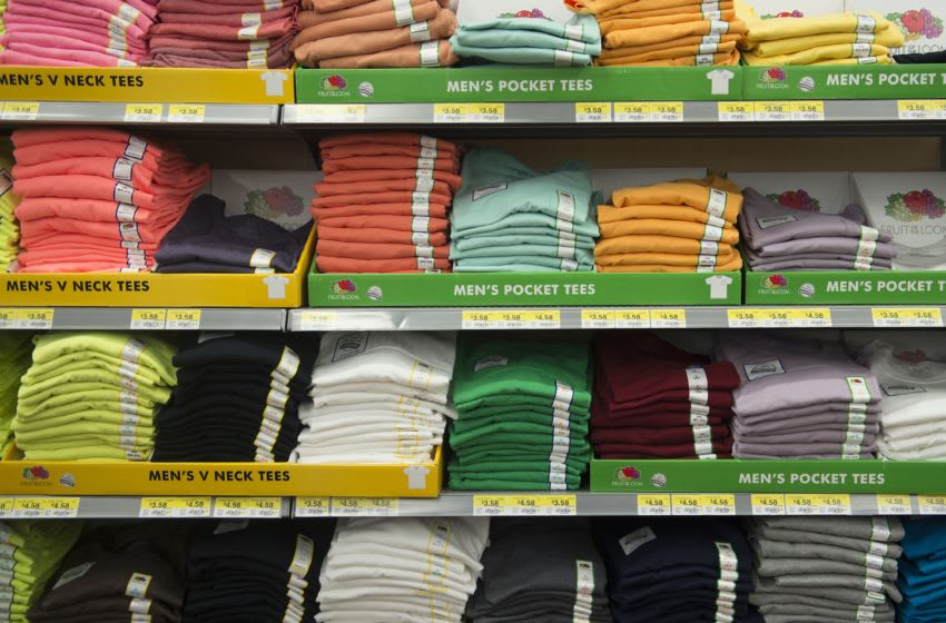 Fruit of the Loom t-shirts are seen at a Walmart store on May 9, 2014 in Mountain View, California. AFP PHOTO/Brendan SMIALOWSKI (Photo credit should read BRENDAN SMIALOWSKI/AFP/Getty Images)