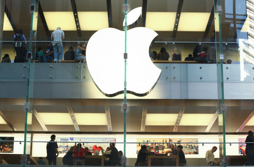 Customers are seen inside an Apple Inc. store in Sydney, Australia, on Thursday, April 13, 2017. The Australian economy will expand 2.5 percent in 2017, 2.8 percent in 2018 and 2.6 percent in 2019, according to asurveyconducted by Bloomberg News. Photographer: Brendon Thorne/Bloomberg via Getty Images