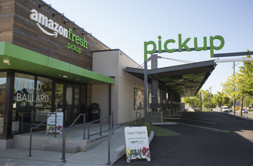 An AmazonFresh Pickup location stands in Seattle, Washington, U.S., on Friday, May 26, 2017. Amazon.com Inc. opened two grocery pickup kiosks in Seattle, part of its latest effort to enter the $800 billion grocery market and compete with 'click and collect' shopping options from big box competitors like Wal-Mart Stores Inc. Photographer: David Ryder/Bloomberg via Getty Images