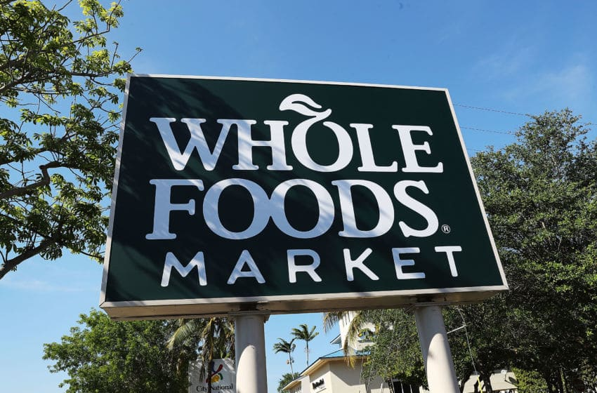 MIAMI, FL - MAY 10: A Whole Foods Market sign is seen outside the store as the company appointed five new directors to its board and replaced its chairman on May 10, 2017 in Miami, Florida. The corporate shakeup is seen as a broader effort to revamp operations for the grocery store chain. (Photo by Joe Raedle/Getty Images)