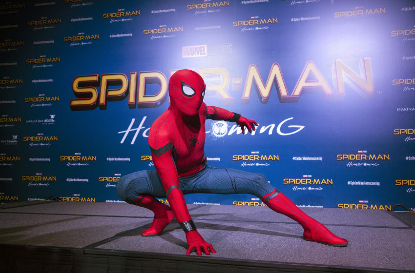 SINGAPORE - JUNE 07: Spider-Man poses at the 'Spider-Man: Homecoming' red carpet fan event at Marina Bay Sands on June 7, 2017 in Singapore. (Photo by Ore Huiying/Getty Images for Sony Pictures)