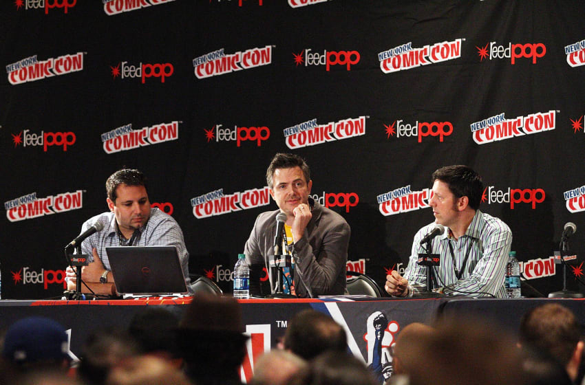 NEW YORK, NY - OCTOBER 08: Joe Ninivaggi, Steve Bono and Steve Evans attend the Hasbro Star Wars toy launch unveiling at New York Comic-Con 2015 - Day 1 at The Jacob K. Javits Convention Center on October 8, 2015 in New York City. (Photo by Laura Cavanaugh/Getty Images)