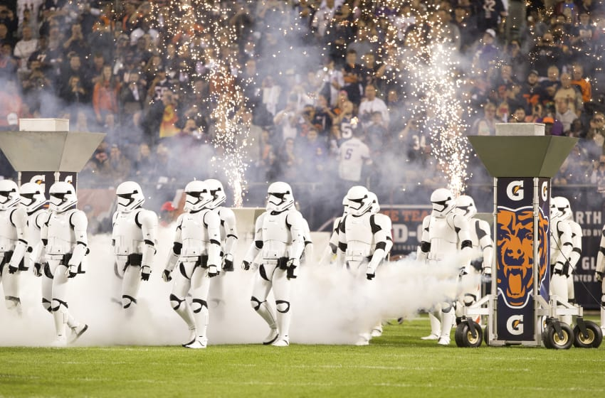 CHICAGO, IL - OCTOBER 09: Storm troopers take the field during a special halftime showing of the new Star Wars movie Star Wars: The Last Jedi at Soldier Field during the game between the Chicago Bears and the Minnesota Vikings on October 9, 2017 in Chicago, Illinois. (Photo by Kena Krutsinger/Getty Images)