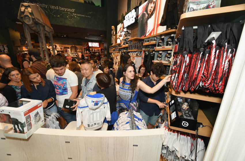 NEW YORK, NY - SEPTEMBER 01: Star Wars Force Friday II kicks off in the USA with midnight store openings in NYC. Hundreds of fans showed up to be the first to get their hands on new merchandise celebrating Star Wars: The Last Jedi at the Disney Store Times Square on September 1, 2017 in New York City. (Photo by Mike Coppola/Getty Images for Disney Consumer Products and Interactive Media)
