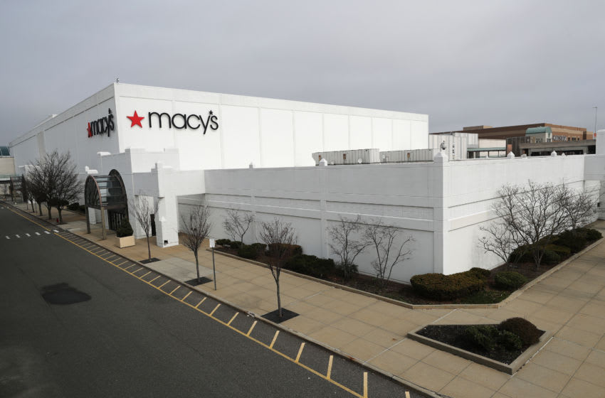 EAST GARDEN CITY, NEW YORK - MARCH 20: Macy's department store is shown with an empty parking lot amid the coronavirus pandemic at the Roosevelt Field Mall on March 20, 2020 in East Garden City, New York. Long Island's malls and some shopping centers have closed temporarily, following New York State's mandate that the indoor portions of the malls be shut down during the coronavirus pandemic. The World Health Organization declared coronavirus (COVID-19) a global pandemic on March 11th. (Photo by Al Bello/Getty Images)