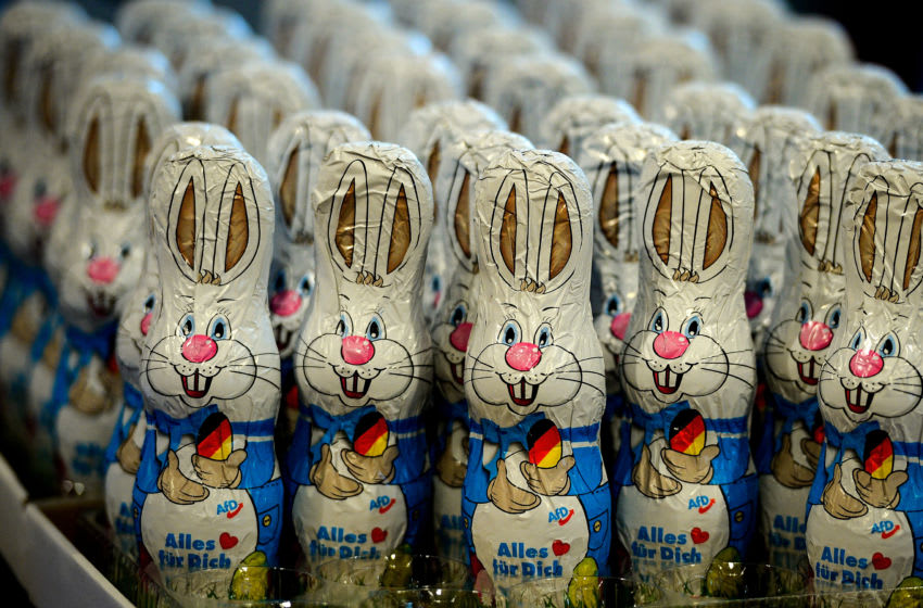 COLOGNE, GERMANY - APRIL 22: Chocolate Easter bunnies with the AfD logo are seen during the federal congress of the right-wing populist Alternative for Germany (AfD) political party on April 22, 2017 in Cologne, Germany. The party is meeting following the recent surprise announcement by its chairwoman Frauke Petry that she will not run in German federal elections scheduled for September. The AfD saw a surge in popularity that helped it capture seats in 10 state parliaments, though more recently that party has seen its poll numbers slip. It has also been plagued by infighting between more moderate and radical factions of its leadership. (Photo by Sascha Schuermann/Getty Images)