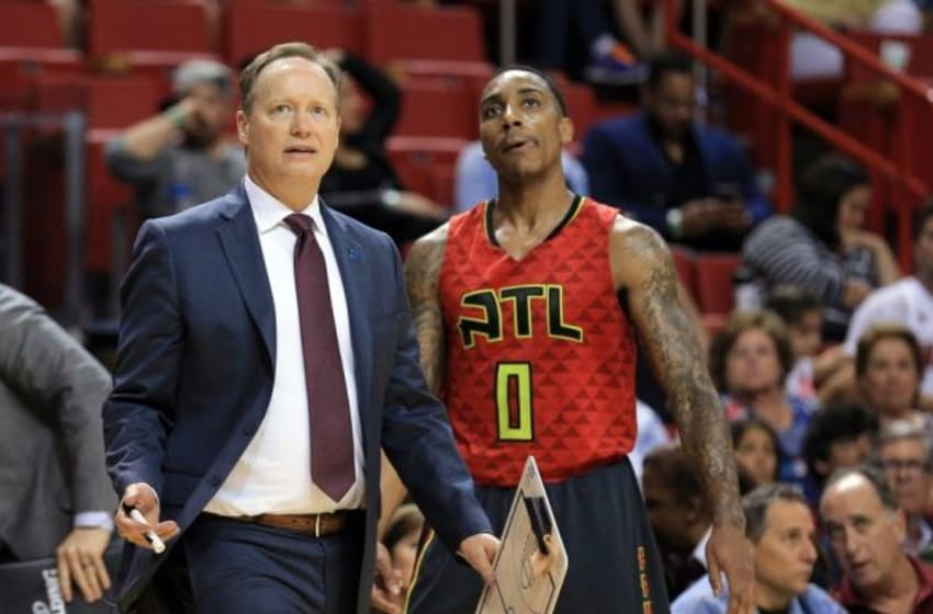 Jan 31, 2016; Miami, FL, USA; Atlanta Hawks head coach Mike Budenholzer calls for a timeout during the second half against the Miami Heat at American Airlines Arena. Mandatory Credit: Steve Mitchell-USA TODAY Sports