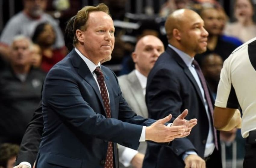 Feb 20, 2016; Atlanta, GA, USA; Atlanta Hawks head coach Mike Budenholzer reacts during the game against the Milwaukee Bucks during the second half at Philips Arena. The Bucks defeated the Hawks 117-109 in double overtime. Mandatory Credit: Dale Zanine-USA TODAY Sports