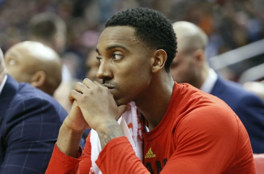 Mar 30, 2016; Toronto, Ontario, CAN; Atlanta Hawks guard Jeff Teague (0) on the bench during the fourth quarter against the Toronto Raptors at the Air Canada Centre. Toronto defeated Atlanta 105-97 for their franchise record 50th win in a season. Mandatory Credit: John E. Sokolowski-USA TODAY Sports