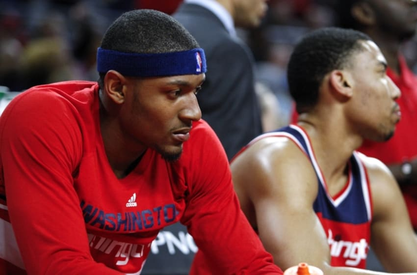 Apr 8, 2016; Auburn Hills, MI, USA; Washington Wizards guard Bradley Beal (3) sits on the bench and looks down during the third quarter against the Detroit Pistons at The Palace of Auburn Hills. Pistons win 112-99. Mandatory Credit: Raj Mehta-USA TODAY Sports