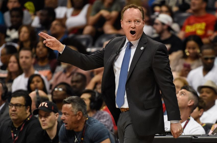 May 8, 2016; Atlanta, GA, USA; Atlanta Hawks head coach Mike Budenholzer reacts to a call against the Cleveland Cavaliers during the second half in game four of the second round of the NBA Playoffs at Philips Arena. The Cavaliers defeated the Hawks 100-99. Mandatory Credit: Dale Zanine-USA TODAY Sports