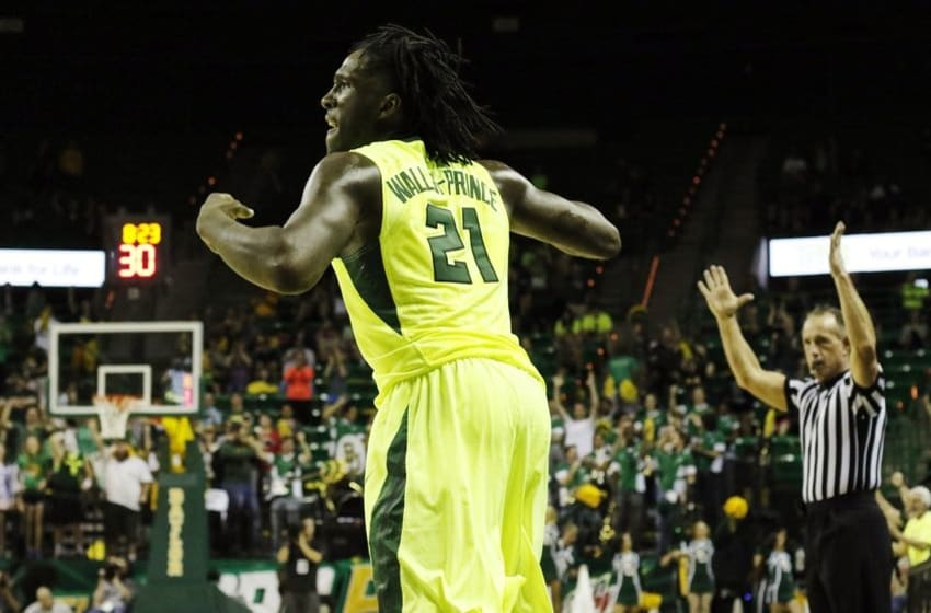 Mar 5, 2016; Waco, TX, USA; Baylor Bears forward Taurean Prince (21) celebrates after scoring against the West Virginia Mountaineers during the second half at Ferrell Center. The Mountaineers won 69-58. Mandatory Credit: Ray Carlin-USA TODAY Sports