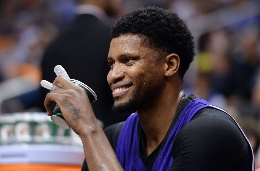 Apr 11, 2016; Phoenix, AZ, USA; Sacramento Kings forward Rudy Gay (8) smiles while sitting on the bench in the second half against the Phoenix Suns at Talking Stick Resort Arena. The Sacramento Kings won 105-101. Mandatory Credit: Jennifer Stewart-USA TODAY Sports