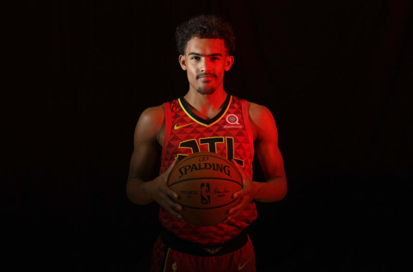 TARRYTOWN, NY - AUGUST 12: Trae Young #11 of the Atlanta Hawks poses for a portrait during the 2018 NBA Rookie Photo Shoot on August 12, 2018 at the Madison Square Garden Training Facility in Tarrytown, New York. NOTE TO USER: User expressly acknowledges and agrees that, by downloading and or using this photograph, User is consenting to the terms and conditions of the Getty Images License Agreement. Mandatory Copyright Notice: Copyright 2018 NBAE (Photo by Brian Babineau/NBAE via Getty Images)