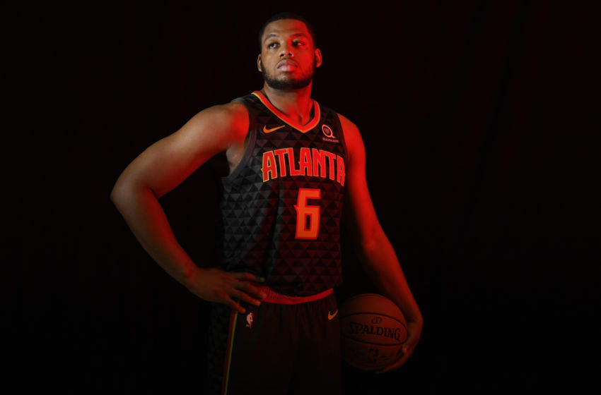 TARRYTOWN, NY - AUGUST 12: Omari Spellman #6 of the Atlanta Hawks poses for a portrait during the 2018 NBA Rookie Photo Shoot on August 12, 2018 at the Madison Square Garden Training Facility in Tarrytown, New York. NOTE TO USER: User expressly acknowledges and agrees that, by downloading and or using this photograph, User is consenting to the terms and conditions of the Getty Images License Agreement. Mandatory Copyright Notice: Copyright 2018 NBAE (Photo by Brian Babineau/NBAE via Getty Images)