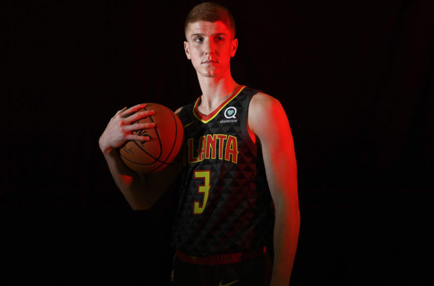 Kevin Huerter #3 of the Atlanta Hawks (Photo by Brian Babineau/NBAE via Getty Images)