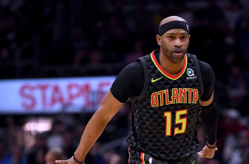 LOS ANGELES, CALIFORNIA - JANUARY 28: Vince Carter #15 of the Atlanta Hawks celebrates his three pointer during a 123-118 win over the LA Clippers at Staples Center on January 28, 2019 in Los Angeles, California. (Photo by Harry How/Getty Images)