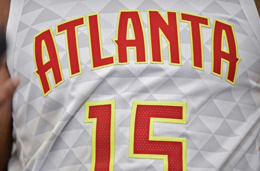 ATLANTA, GA - SEPTEMBER 30: Atlanta logo displayed on a Hawks jersey during the Atlanta Hawks Media Day on September 30, 2019, at Emory Sports Medicine Complex in Atlanta, GA. (Photo by Austin McAfee/Icon Sportswire via Getty Images)