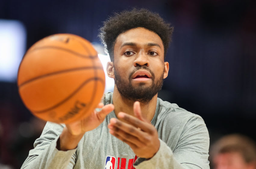 ATLANTA, GA - OCTOBER 26: Jabari Parker #5 of the Atlanta Hawks warms up prior to the game against the Orlando Magic at State Farm Arena on October 26, 2019 in Atlanta, Georgia. NOTE TO USER: User expressly acknowledges and agrees that, by downloading and or using this photograph, User is consenting to the terms and conditions of the Getty Images License Agreement. (Photo by Carmen Mandato/Getty Images)