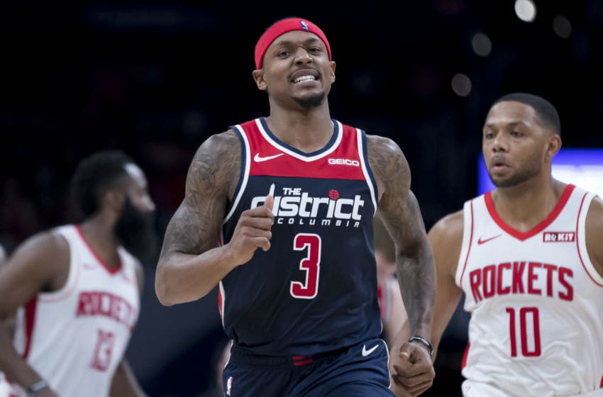 WASHINGTON, DC - OCTOBER 30: Bradley Beal #3 of the Washington Wizards reacts to a play against the Houston Rockets during the second half at Capital One Arena on October 30, 2019 in Washington, DC. NOTE TO USER: User expressly acknowledges and agrees that, by downloading and or using this photograph, User is consenting to the terms and conditions of the Getty Images License Agreement. (Photo by Scott Taetsch/Getty Images)
