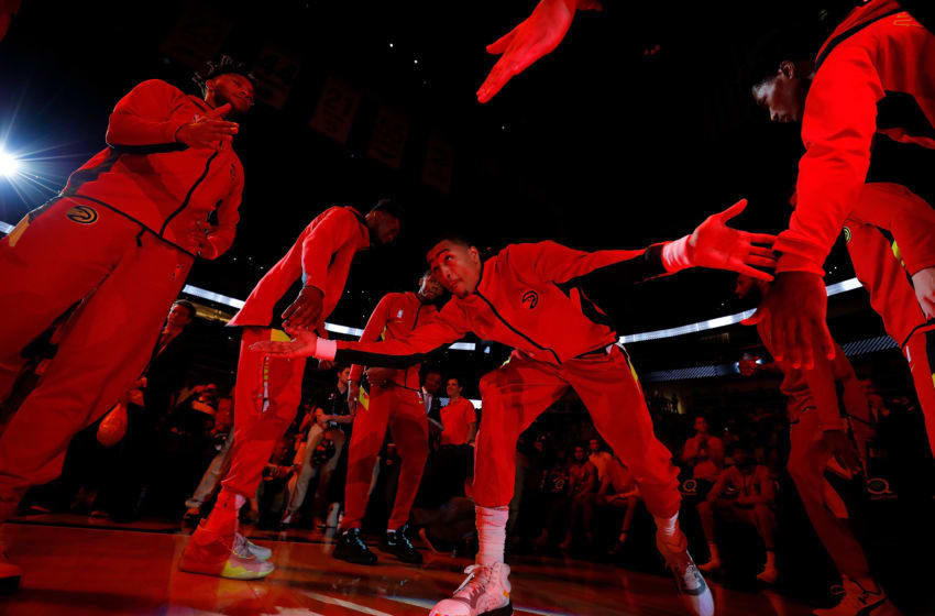 ATLANTA, GEORGIA - OCTOBER 28: John Collins #20 of the Atlanta Hawks is introduced prior to facing the Philadelphia 76ers at State Farm Arena on October 28, 2019 in Atlanta, Georgia. NOTE TO USER: User expressly acknowledges and agrees that, by downloading and/or using this photograph, user is consenting to the terms and conditions of the Getty Images License Agreement. (Photo by Kevin C. Cox/Getty Images)