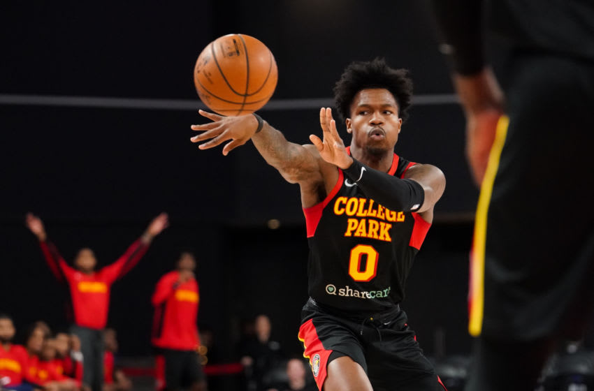 ATLANTA, GA - DECEMBER 03: Brandon Goodwin #0 of the College Park Skyhawks makes a pass during the first quarter of an NBA G-League game on December 3 2019 at The Gateway Center Atlanta, GA. NOTE TO USER: User expressly acknowledges and agrees that, by downloading and/or using this Photograph, user is consenting to the terms and conditions of the Getty Images License Agreement. Mandatory Copyright Notice: Copyright 2019 NBAE (Photo by Kevin D. Liles/NBAE via Getty Images)