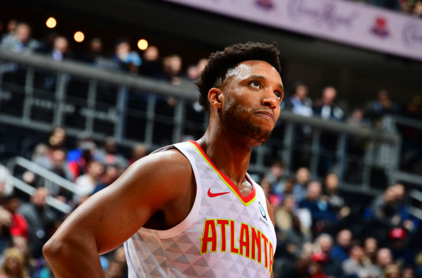 ATLANTA, GA - DECEMBER 19: Evan Turner #1 of the Atlanta Hawks looks on during the game against the Utah Jazz on December 19, 2019 at State Farm Arena in Atlanta, Georgia. NOTE TO USER: User expressly acknowledges and agrees that, by downloading and/or using this Photograph, user is consenting to the terms and conditions of the Getty Images License Agreement. Mandatory Copyright Notice: Copyright 2019 NBAE (Photo by Scott Cunningham/NBAE via Getty Images)