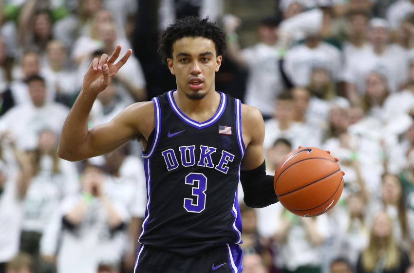 EAST LANSING, MICHIGAN - DECEMBER 03: Tre Jones #3 of the Duke Blue Devils plays against the Michigan State Spartans at the Breslin Center on December 03, 2019 in East Lansing, Michigan. (Photo by Gregory Shamus/Getty Images)