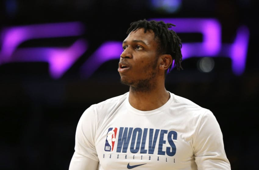 LOS ANGELES, CALIFORNIA - DECEMBER 08: Treveon Graham #12 of the Minnesota Timberwolves warms up ahead of a game against the Los Angeles Lakers at Staples Center on December 08, 2019 in Los Angeles, California. NOTE TO USER: User expressly acknowledges and agrees that, by downloading and or using this photograph, User is consenting to the terms and conditions of the Getty Images License Agreement. (Photo by Katharine Lotze/Getty Images)