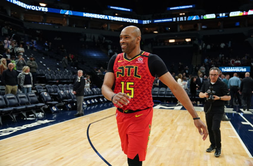 MINNEAPOLIS, MN - FEBRUARY 5: Vince Carter #15 of the Atlanta Hawks smiles after the game against the Minnesota Timberwolves on February 5, 2020 at Target Center in Minneapolis, Minnesota. NOTE TO USER: User expressly acknowledges and agrees that, by downloading and or using this Photograph, user is consenting to the terms and conditions of the Getty Images License Agreement. Mandatory Copyright Notice: Copyright 2020 NBAE (Photo by Jordan Johnson/NBAE via Getty Images)